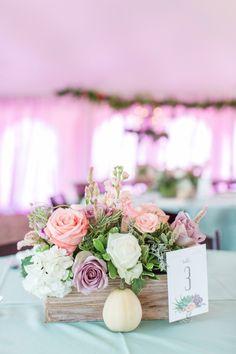 flower box centerpiece pink white and purple