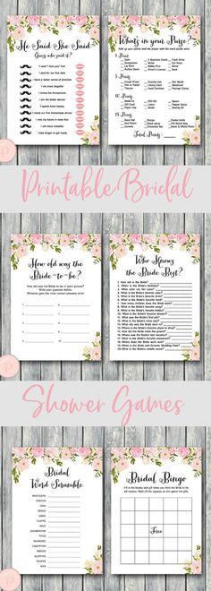 Peonies Bridal Shower Games Package, Instant Download, 6 Games Printable  #ad #etsy #wedding #bridalshower #games #printables