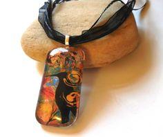 Crow Totem in Garden Artisan Glass Pendant on Black Ribbon Necklace | ConsciousArtStudios - Jewelry on ArtFire