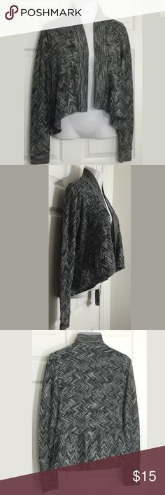 """APT 9 Black, Gray Metallic•Wrap•Shrug•Cardigan Gorgeous lightweight cardigan. Can be worn with so many different colors!  Bust: 20 1/2""""; Length in the back from the shoulder: 24 1/2"""". 76% Rayon, 14% Polyester, 10% Metallic. Hand wash. Smoke free home. 🌺Thanks for shopping my closet !🌹 Apt. 9 Sweaters Cardigans"""