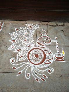 Rangoli Designs Peacock, Small Rangoli Design, Rangoli Kolam Designs, Rangoli Designs Images, Beautiful Rangoli Designs, Diya Rangoli, Flower Rangoli, Rangoli With Dots, Simple Rangoli