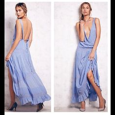 HPNWT Free People Oberoi Dress SZ M Boho inspired ethereal and elegant maxi gown featuring bead and embroidery detailing and a ruffled hem. Surplice bodice and low strappy back. Lined.  *100% Rayon  *Hand Wash Cold or Dry Clean  *Import Free People Dresses Maxi
