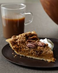 I am making this little piece of heaven for Thanksgiving Day dessert, along with a dark chocolate tart. :-D Bourbon Pumpkin Pie with Pecan Streusel Recipe on Food & Wine Pumpkin Recipes, Pie Recipes, Dessert Recipes, Recipies, Recipe Sites, Pumpkin Dessert, Pie Dessert, Pumpkin Pies, Just Desserts