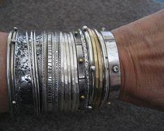Interlocking Bracelets Sterling Silver Bangle by VictoriaTeague, $160.00
