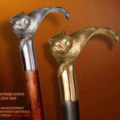 "Handmade Walking Cane / Handmade Walking Stick "" CAT ""by Boris Palatnik"