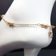 Adjustable Gold Cream Anklet Beige Freshwater Pearl by lv2cr8, $30.00