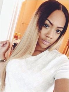 22 Inch Honey Blonde Black Root Ombre Middle Part Lace Front Wig Indian Virgin Full Lace Human Hair Wigs Baby Hair Around Weave Hairstyles, Pretty Hairstyles, Straight Hairstyles, Casual Hairstyles, Curly Hair Styles, Natural Hair Styles, Pelo Natural, Ombre Wigs, Tape In Hair Extensions