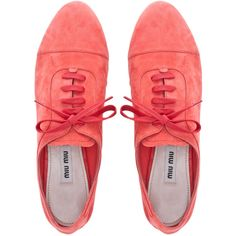 Miu Miu Lace-Ups (€475) ❤ liked on Polyvore featuring shoes, oxfords, flats, sneakers, women, suede flats, oxford lace up shoes, oxford shoes, laced up flats and lace up shoes
