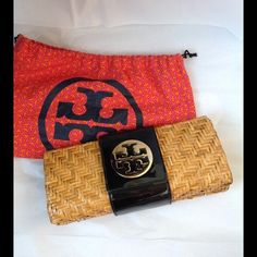 Tory Burch Tan Woven Clutch Black Patent Only use two times. Comes with dust bag in great condition Tory Burch Bags Clutches & Wristlets