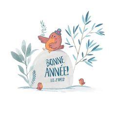« Bonne Année! les zamis! » par MarineBenezech  #carte #micocoulestudio #illustration #bird #watercolor #numerique #marinebenezech #cartedevoeux #bonneannée