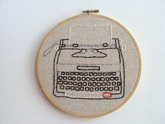 Hand Embroidery Hoop - Typewriter Transcription. $65.00, via Etsy.