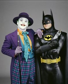 Jack Nicholson and Michael Keaton. Nice photo from the first Batman movie.