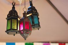 Moroccan Inspired centerpieces   More colorful Moroccan lanterns hung above the dessert table. I wanted ...