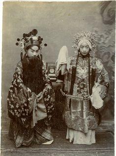 Beijing Opera Vintage print, China Tirage citrate 9x12 Circa 1890