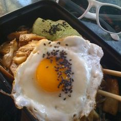 Japchei With Avocado, Shiitakes & Fried Egg @ Koriente Restaurant - Highly recommend this place... Super tasty, super clean food... Great vegan options