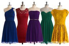 jewel tone bridesmaid dresses - Except the yellow Jewel Tone Bridesmaid, Jewel Tone Wedding, Bridesmaid Dress Colors, Wedding Bridesmaid Dresses, Wedding Colors, Bride Dresses, Bridesmaid Inspiration, Wedding Inspiration, Wedding Ideas
