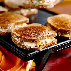 Grilled Chicken 'N' Cheese Sandwiches - Quick-Fix 20-Minute Meals - Southernliving. Total Time: 20 minutesStart with a simple chicken salad mixture made with raisins, almonds, and diced celery, and stack it on wheat bread with mild, creamy Monterey Jack cheese before cooking on a skillet or griddle.Recipe: Grilled Chicken 'N' Cheese Sandwiches