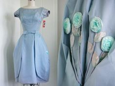 1950's Vintage Blue Organza Bubble Party Dress by vintagebluemoon, $250.00