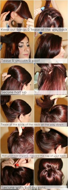 Bun Tutorial for Fine Hair: Low Chignon Hairstyle. Easy DIY updo tutorials for long hair. Easy Messy Hairstyles, Updo Hairstyles Tutorials, Up Hairstyles, Pretty Hairstyles, Step Hairstyle, Hairstyle Ideas, Wedding Hairstyles, Medium Thin Hair, Medium Hair Styles