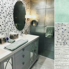 We're enchanted by this silver and sage-hued bath designed by Brittany Marom! Our La Leaf glass and Jaipur Vine waterjet beautifully adorn the walls, while our Sinuous mosaic tile adds a lyrical layer beneath. http://www.brittanymarom.com/