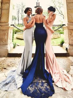 Mermaid Prom Dresses Halter Neckline Evening Party Dress pst0944