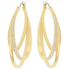 Swarovski 5083119 Swarovski Earrings Jewelry This fashionable pair of gold-plated earrings adds classic elegance to any outfit by day or night. Its multi-layered silhouette is embellished with clear crystal pave. Swarovski Jewelry, Crystal Jewelry, Swarovski Crystals, Women's Earrings, Pierced Earrings, Gold Plated Earrings, Crystal Drop, Classic Elegance, Hoop