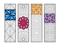 Intricate Geometric Bookmarks - PDF Zentangle Coloring Page Abstract Coloring Pages, Coloring Book Pages, Coloring Sheets, Mandala Coloring, Adult Coloring, Zen Doodle, Doodle Art, Flower Birthday Cards, Folk Art Flowers
