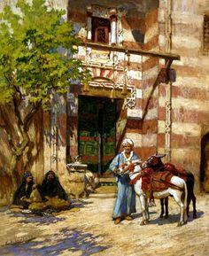 Algérie  -  Peintre American  Frederick Arthur Bridgman(1847-1928), huile sur toile , Titre :