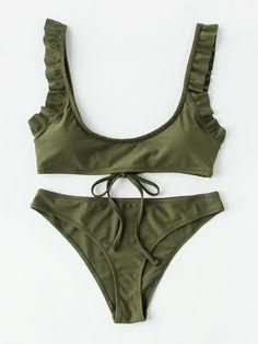 Shop Frill Trim Tie Back Bikini Set online. SheIn offers Frill Trim Tie Back Bikini Set & more to fit your fashionable needs.