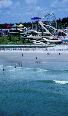 Slide into the best family beach vacation you'll ever have – Myrtle Beach, SC – affordable and fun for everyone! South Carolina Vacation, Myrtle Beach South Carolina, Myrtle Beach Sc, Myrtle Beach Boardwalk, Carolina Usa, Myrtle Beach Attractions, Myrtle Beach Vacation, Beach Trip, Hawaii Honeymoon