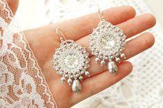 Perlen gewebt Ohrringe Silber. Beadwoven Ohrringe
