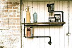 Industrial Pipe Shelf Level 3 Wood Possum Belly. $229.00, via Etsy.