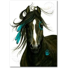 Majestic Morgan Native American Spirit Horse Feathers ArT- Giclee... ($20) ❤ liked on Polyvore featuring home, home decor, wall art, horse home decor, giclee wall art, feather wall art, native american home decor and horse wall art