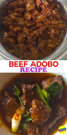 "Adobo in Spanish word ""adobar"" means to marinade, sauce or seasoning before cooking. It is a Filipino national dish of Pork or Chicken and Beef stewed in vinegar. Top Recipes, Meat Recipes, Asian Recipes, Mexican Food Recipes, Chicken Recipes, Cooking Recipes, Ethnic Recipes, Ono Kine Recipes, Easy Filipino Recipes"
