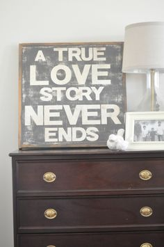 Love Story Sign. $95.00, via Etsy.  and another sign....