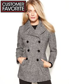 Calvin Klein Wool-Cashmere-Blend Peacoat - Indigo size 4