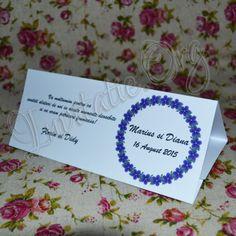 Plicuri de bani cu coronita din flori albastre