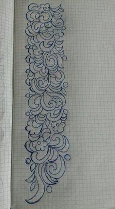 طرز                                                                                                                                                                                 More Tambour Embroidery, Embroidery Motifs, Silk Ribbon Embroidery, Floral Embroidery, Machine Embroidery, Border Embroidery Designs, Neckline Designs, Fabric Painting, Fabric Patterns