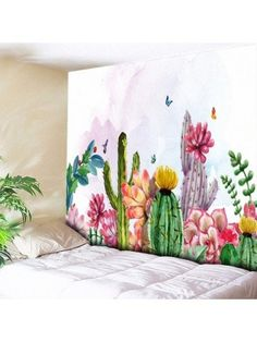 5 Size Cactus Tapestry Mandala Wall Hanging Green Succulents Flower Art Carpet Blanket Yoga Mat Decorative Tapestry for Home Cheap Wall Tapestries, Tapestry Wall Hanging, Art Floral, Reproductions Murales, Cactus Art, Cactus Plants, Cactus Painting, Mural Wall Art, Abstract Art