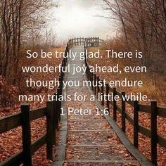 1 Peter So be truly glad. There is wonderful joy ahead, even though you must endure many trials for a little while. Biblical Quotes, Religious Quotes, Bible Verses Quotes, Bible Scriptures, Spiritual Quotes, Faith Quotes, Shining Tears, 1 Peter, Thing 1