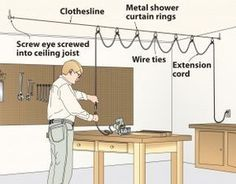 You'll love this high-wire act. Keep your extension cord out of the way with a clothes line, and shower curtain rings.
