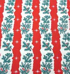 vintage Christmas wrapping paper with red and white stripes