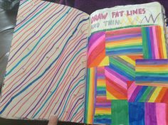 Wreck this Journal  draw fat lines and thin pushing really hard with the pencil