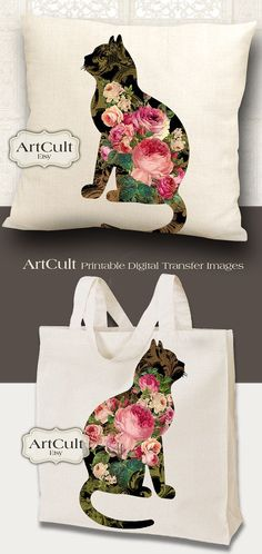 ROSE GARDEN CATS - 2 Digital Sheets Printable Images to print on fabric / paper, Iron On Transfer for totes t-shirts pillows home decor