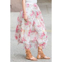 Fara Long Print Skirt ❤ liked on Polyvore featuring skirts, floral skirt, long summer skirts, print maxi skirt, floral print skirt and long floral maxi skirt