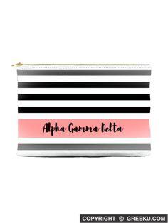Sorority Black White Stripes Coral Accessory Pouch  Shown in Alpha Gamma  Delta but can be b10a240bf1