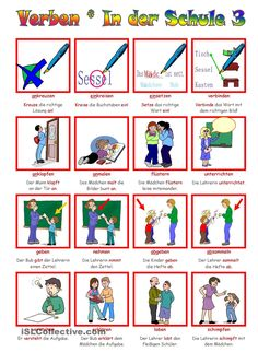 Verbs _ At school 3 - # German Grammar, German Words, German Resources, Deutsch Language, Kindergarten Portfolio, Deaf Children, Visual Dictionary, German Language Learning, Action Words