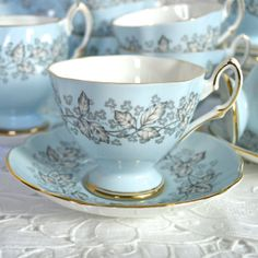 English Fine Bone China Footed Teacup and Saucer  by Wicksteads, £14.95