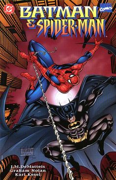 Batman & Spider-Man – New Age Dawning // Batman and Spiderman team up to take on villains Kingpin and Ras Al Ghul. Spider-man is a wise-cracking but compassionate man who has an overwhelming sense of responsibility. Dc Comics Vs Marvel, Marvel Dc Comics, Marvel Heroes, Spiderman Kunst, Batman Spiderman, Spiderman Pictures, Giant Monster Movies, Comic Books For Sale, Comic Book Collection