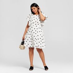 3b720794876 Women s Plus Size Polka Dot Short Sleeve Ruffle Sleeve Dress - A New Day™  White Black